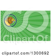 Cartoon Roaring Male Lion And Green Rays Background Or Business Card Design