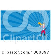 Retro Cartoon White Male Circus Ringmaster Announcing With A Bullhorn And Blue Rays Background Or Business Card Design