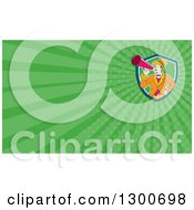 Retro Cartoon White Male Circus Ringmaster Announcing Through A Bullhorn And Green Rays Background Or Business Card Design