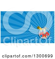 Retro Cartoon White Male Circus Ringmaster Announcing Through A Bullhorn And Blue Rays Background Or Business Card Design