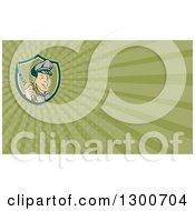Clipart Of A Retro Gas Station Attendant Jockey Holding A Nozzle And Green Rays Background Or Business Card Design Royalty Free Illustration by patrimonio