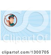 Retro Gas Station Attendant Jockey Holding A Nozzle And Light Blue Rays Background Or Business Card Design