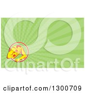 Clipart Of A Retro Shot Put Athlete And Green Rays Background Or Business Card Design Royalty Free Illustration by patrimonio