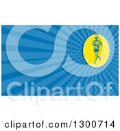 Clipart Of A Retro Runner And Blue Rays Background Or Business Card Design Royalty Free Illustration