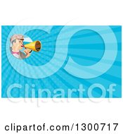 Clipart Of A Retro Low Poly Director Using A Megaphone And Blue Rays Background Or Business Card Design Royalty Free Illustration by patrimonio
