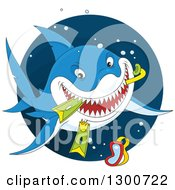 Clipart Of A Blue Shark Eating Snorkel Gear In A Circle Royalty Free Vector Illustration by Alex Bannykh