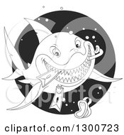 Black And White Lineart Shark Eating Snorkel Gear In A Circle
