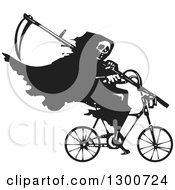 Clipart Of A Black And White Woodcut Grim Reaper Riding A Bicycle With A Scythe Royalty Free Vector Illustration