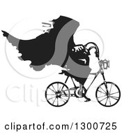 Clipart Of A Black And White Woodcut Grim Reaper Riding A Bicycle Royalty Free Vector Illustration