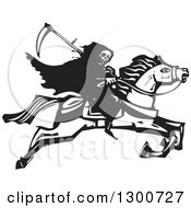 Clipart Of A Black And White Woodcut Grim Reaper Riding Horseback Royalty Free Vector Illustration