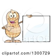 Happy Peanut Mascot Character Holding And Pointing To A Sign