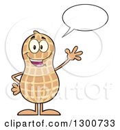 Clipart Of A Happy Peanut Mascot Character Talking And Waving Royalty Free Vector Illustration