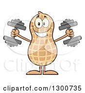 Clipart Of A Happy Peanut Mascot Character Working Out With Dumbbells Royalty Free Vector Illustration
