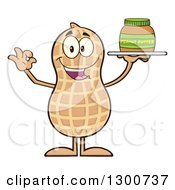 Clipart Of A Happy Peanut Mascot Character Gesturing Ok And Holding A Jar Of Butter Royalty Free Vector Illustration