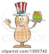Clipart Of A Happy American Peanut Mascot Character Gesturing Ok And Holding A Jar Of Butter Royalty Free Vector Illustration