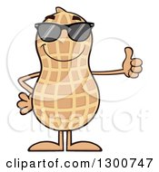 Clipart Of A Happy Peanut Mascot Character Wearing Sunglasses And Giving A Thumb Up Royalty Free Vector Illustration by Hit Toon