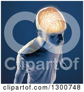 Clipart Of A 3d Man With A Visible Brain Over Blue Royalty Free Illustration