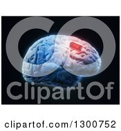 Clipart Of A 3d Human Brain With A Red Implant Chip On Black Royalty Free Illustration