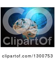 Clipart Of A 3d Human Brain Wired To Computer Chips Over Blue Royalty Free Illustration
