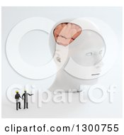 Clipart Of 3d Tiny Construction People Discussing A Giant Head With A Visible Brain On White Royalty Free Illustration