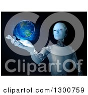 Clipart Of A 3d Robot Holding A Holographic Earth Over Black Royalty Free Illustration