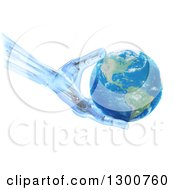 3d Blue Robot Hand Or Artificial Limb Holding Planet Earth Over White