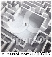 3d Aerial View Of A Lone Man In The Center Of A Maze
