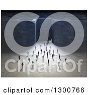 Clipart Of A Crowd Of 3d Men Walking Away From A Maze Royalty Free Illustration