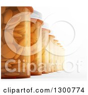 Clipart Of A 3d Row Of Pill Bottles On White Royalty Free Illustration by Mopic