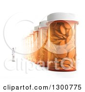 Clipart Of A 3d Male Doctor Or Pharmacist Looking Up At A Row Of Giant Pill Bottles On White Royalty Free Illustration by Mopic