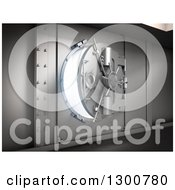 Clipart Of A 3d Opening Bank Vault Safe With Bright Light Royalty Free Illustration by Mopic