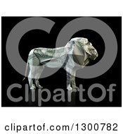 Clipart Of A 3d Money One Hundred Dollar Bill Origami Lion On Black Royalty Free Illustration by Mopic