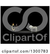 Clipart Of A 3d Money One Hundred Dollar Bill Origami Lion And Businessman With A Flaming Hoop On Black Royalty Free Illustration