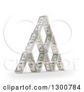 3d House Of Dollar Bill Bundles On White