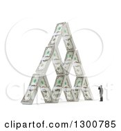 3d Tiny Man By A House Of Cash Money Bundles On White