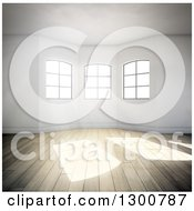 Clipart Of A 3d Oriel Room Interior With Windows And Sunlight Shining On Wood Floors Royalty Free Illustration by Mopic