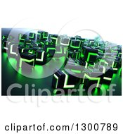 Clipart Of 3d Black And Green Glowing Metallic Cubes Royalty Free Illustration