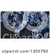 Clipart Of 3d Black And Blue Glowing Metallic Cubes Royalty Free Illustration