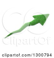 Clipart Of A 3d Grass Arrow Pointing Up To The Right Over White Royalty Free Illustration