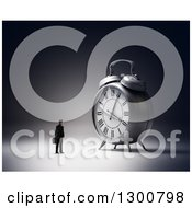Clipart Of A 3d Businessman Facing A Giant Alarm Clock Royalty Free Illustration