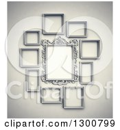 Clipart Of 3d Arranged Blank Frames On A Wall Royalty Free Illustration by Mopic