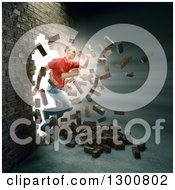 Clipart Of A 3d White Man Breaking And Running Through A Brick Wall Royalty Free Illustration