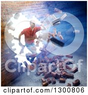 Clipart Of A 3d White Man Breaking And Running Through A Brick Wall With Bright Light Royalty Free Illustration
