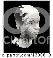 Clipart Of A 3d Broken Head Sculpture Over Black Royalty Free Illustration