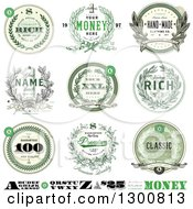 Money Wreath Seals And Design Elements With Sample Text