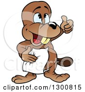 Clipart Of A Cartoon Happy Beaver Holding A Napkin And Thumb Up Royalty Free Vector Illustration by dero