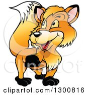 Clipart Of A Cartoon Happy Walking Fox Looking Back Royalty Free Vector Illustration by dero