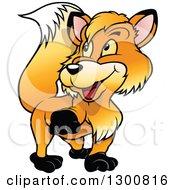 Cartoon Happy Walking Fox Looking Back
