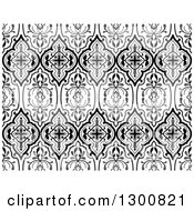 Clipart Of A Black And White Ornamental Flower Pattern Background Royalty Free Vector Illustration by dero