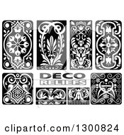 Black And White Floral Deco Relief Design Elements